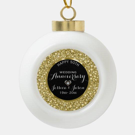 Gold Diamonds Glitter 50th Anniversary Ceramic Ball Christmas