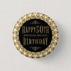 Gold Diamonds Glitter Happy 50th Birthday Template 3 Cm Round Badge