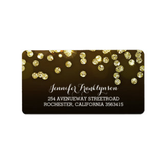 Gold Diamonds Glitter Wedding Address Label