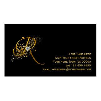 Gold & Diamonds Initial R Stardust Business Card