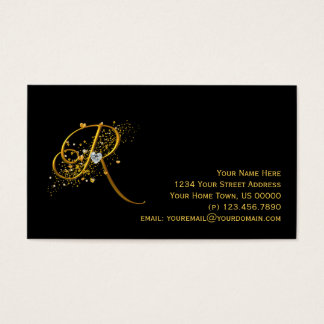 Gold & Diamonds Initial R Stardust Business Card
