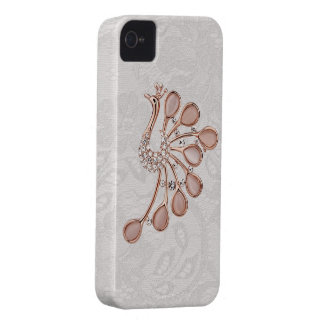 Gold Diamonds Peacock Paisley Lace iPhone 4 iPhone 4 Case
