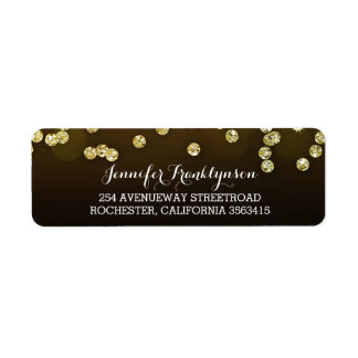 Gold Diamonds Wedding Return Address Label