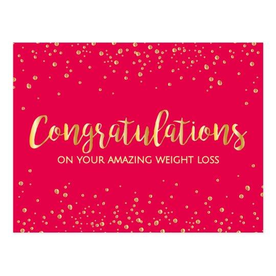 Gold Diet Congratulations Weight Loss Success Postcard