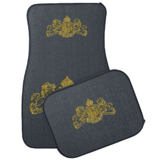 Gold Dieu et Mon Droit British Coat of Arms Car Mat