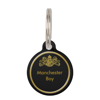 Gold Dieu et Mon Droit British Coat of Arms Pet Tag