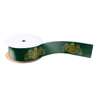 Gold Dieu et Mon Droit British Coat of Arms Satin Ribbon