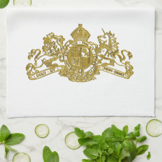 Gold Dieu et Mon Droit British Coat of Arms Tea Towel