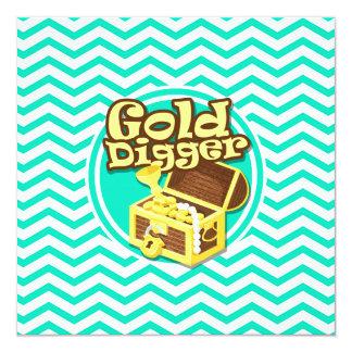 Gold Digger; Aqua Green Chevron 13 Cm X 13 Cm Square Invitation Card