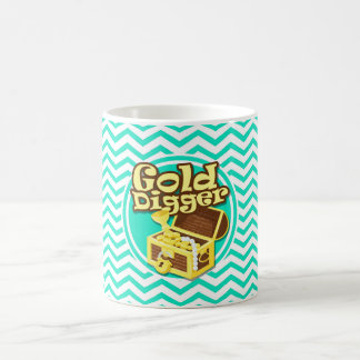 Gold Digger; Aqua Green Chevron Classic White Coffee Mug