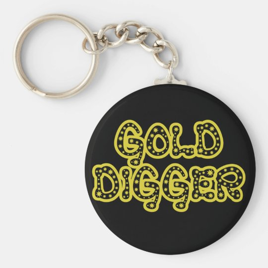 Gold Digger Basic Round Button Key Ring