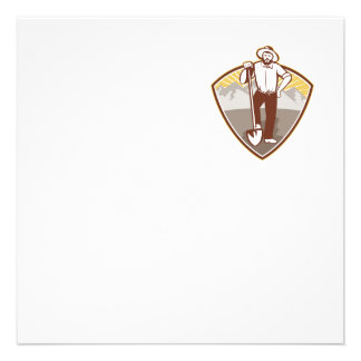 Gold Digger Miner Prospector Shield Personalized Announcement