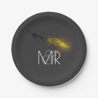 Gold Dipped Feather Elegant Grey Wedding Paper Plate
