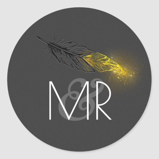 Gold Dipped Feather Glitter Black Wedding Classic Round Sticker