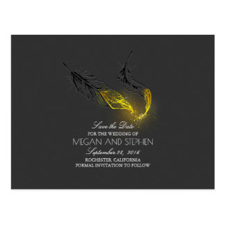 Gold Dipped Feathers Chic Black Save the Date Postcard