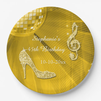 Gold Disco Ball and Heels 45th Birthday 9 Inch Paper Plate