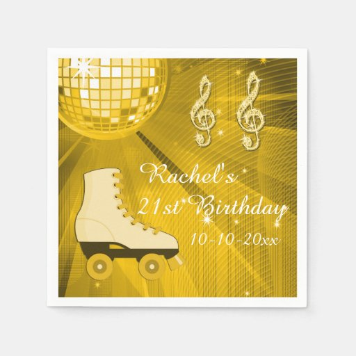 Gold Disco Ball and Roller Skates 21st Birthday Paper Napkins