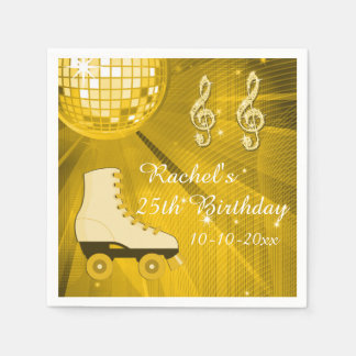Gold Disco Ball and Roller Skates 25th Birthday Paper Napkins