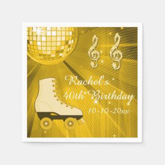 Gold Disco Ball and Roller Skates 40th Birthday Disposable Napkin