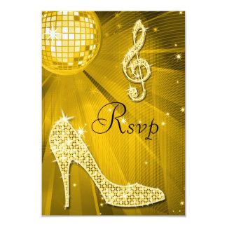 Gold Disco Ball Sparkle Heels RSVP Card