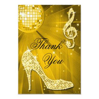 Gold Disco Ball Sparkle Heels Thank You Card