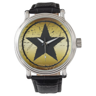 Gold Distressed Star Watch