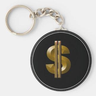 Gold Dollar Sign Basic Round Button Key Ring