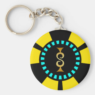 GOLD DOLLAR SIGN POKER CHIP BASIC ROUND BUTTON KEY RING
