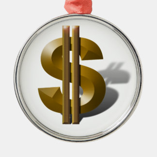 Gold Dollar Sign Silver-Colored Round Decoration