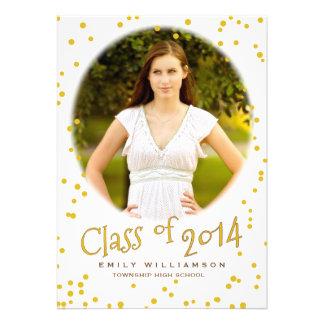 Gold Dot Glam Photo Graduation Party Invitation