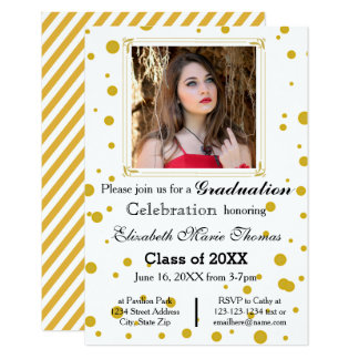 Gold Dots - 3x5 Graduation Announcement