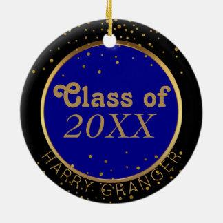 Gold Dots Blue Class of Graduation Keepsake Round Ceramic Decoration