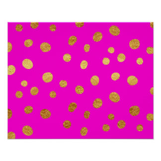 Gold Dots Faux Foil Hot Pink Magenta Pattern Poster