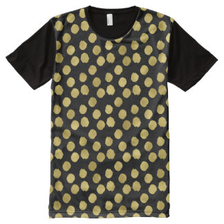 Gold Dots Faux Foil Metallic Black Background Dot All-Over Print T-Shirt