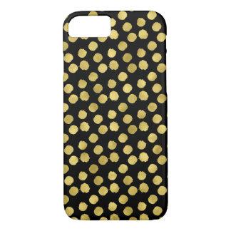 Gold Dots Faux Foil Metallic Black Background Dot iPhone 7 Case