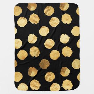 Gold Dots Faux Foil Metallic Black Background Pramblankets