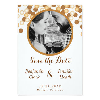 Gold Dots on White Save the Date Card