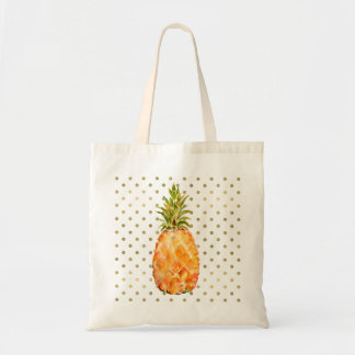 Gold Dots Pineapple Tote Bag