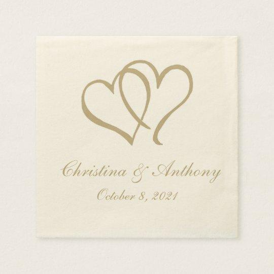 Gold Double Hearts Custom Paper Napkin