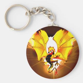Gold dragon basic round button key ring