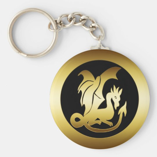 GOLD DRAGON BASIC ROUND BUTTON KEY RING
