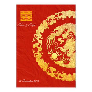 Gold dragon classic double happiness wedding RSVP 13 Cm X 18 Cm Invitation Card