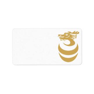 Gold dragon in Egg Label Address Label