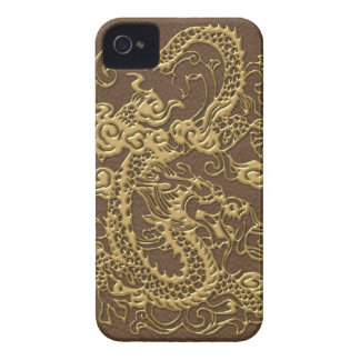 Gold Dragon on Brown Leather Texture iPhone 4 Case-Mate Cases