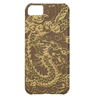 Gold Dragon on Brown Leather Texture iPhone 5C Case