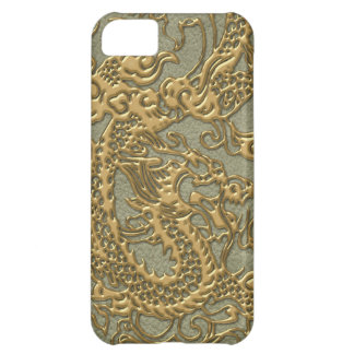 Gold Dragon on Khaki Leather Texture iPhone 5C Case