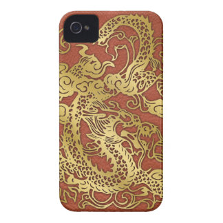Gold Dragon on Leather Print Case-Mate iPhone 4 Case