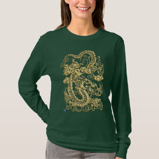 Gold Dragon on Leather Print T-Shirt