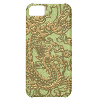 Gold Dragon on Lime Green Leather Texture Cover For iPhone 5C