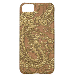 Gold Dragon on Natural Tan Leather Texture iPhone 5C Case